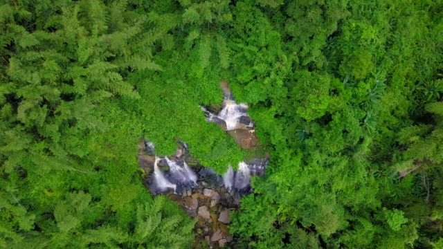 Aerial view of beautiful waterfall in Thailand video