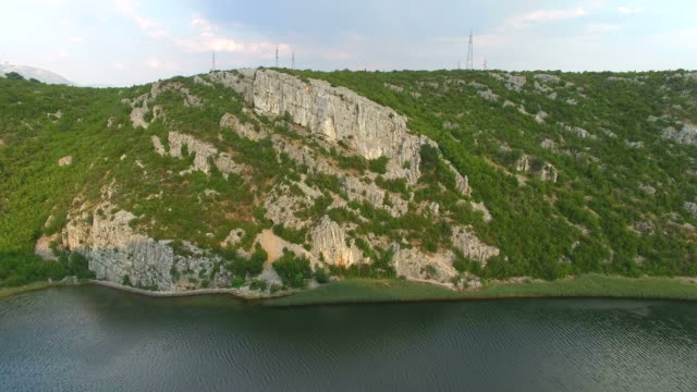 Aerial view of beautiful Zrmanja river