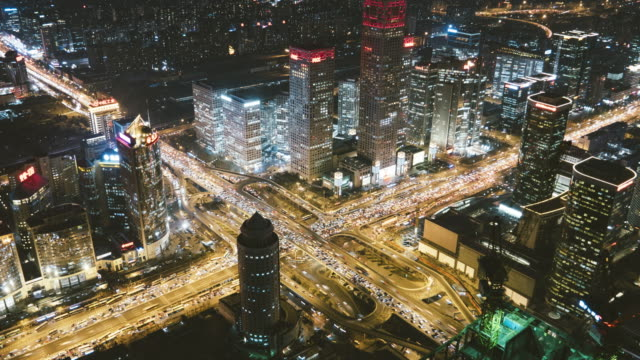 T/L MS HA ZO Aerial View of Beijing CBD Area at Night / Beijing, China video