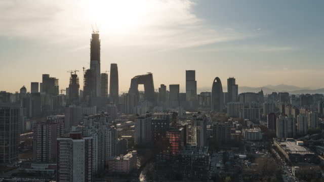 T/L WS HA TU Aerial view of Beijing CBD area / Beijing, China video