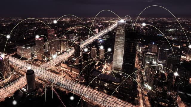 vídeos y material grabado en eventos de stock de t/l ha vista aérea de la tecnología de red de la ciudad de beijing, de día a noche - prosperidad