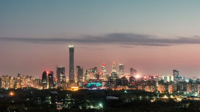T/L HA ZI Aerial View of Beijing Skyline at Night video