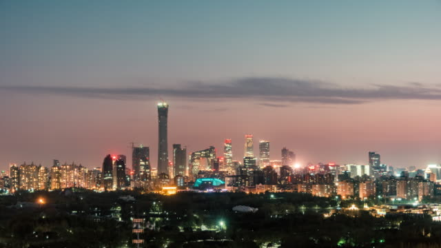 T/L HA Aerial View of Beijing Skyline at Night video