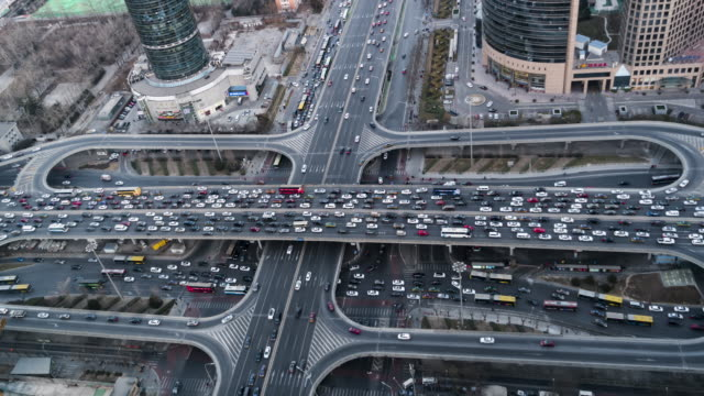 T/L WS HA ZI Aerial View of Beijing Traffic Jam / Beijing, China video