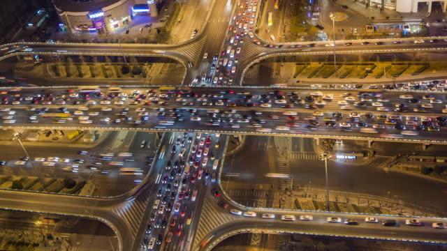 T/L Aerial View of Beijing Traffic Jam video