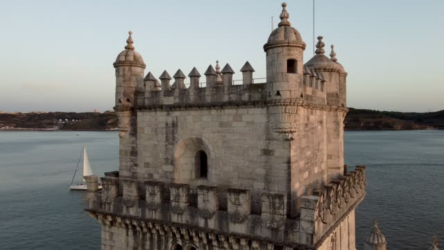 Aerial view of Belem Tower in Lisbon
