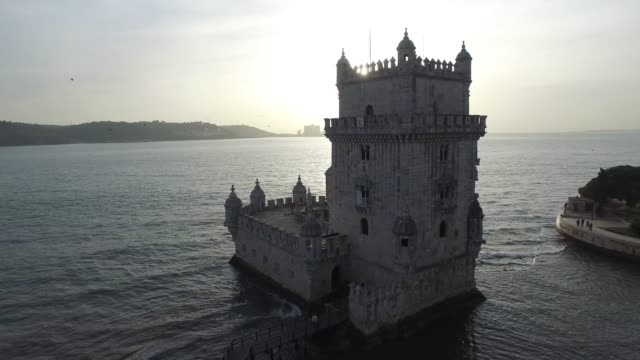 vídeos de stock e filmes b-roll de aerial view of belem tower, lisbon, portugal - castle