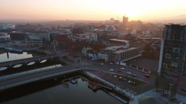 Aerial view of Belfast Northern Ireland video