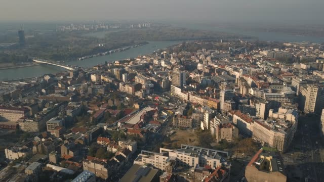aerial view of belgrade - белград стоковые видео и кадры b-roll