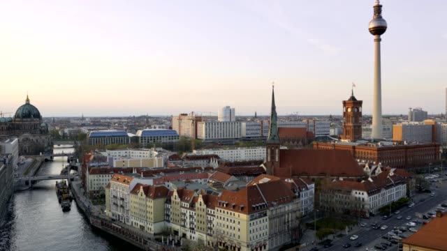 Aerial view of Berlin skyline and Spree river at sunset video