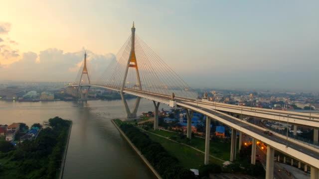 aerial view of bhumibol bridge bangkok thailand video