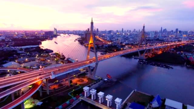 aerial view of bhumibol bridge in bangkok thailand - fiume chao phraya video stock e b–roll