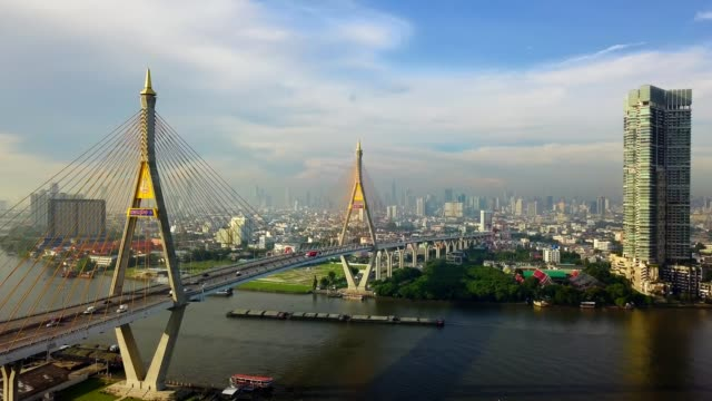 aerial view of bhumibol suspension bridge cross over chao phraya river in bangkok city - fiume chao phraya video stock e b–roll