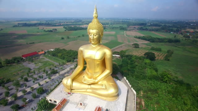 aerial view of big buddha statue in wat muang,thailand - wat video stock e b–roll
