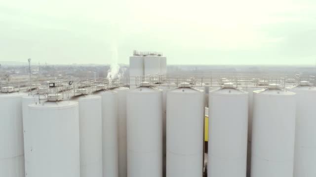 Aerial view of  big grain elevators.