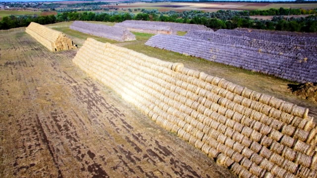 Aerial view of big stacks from hay bale video