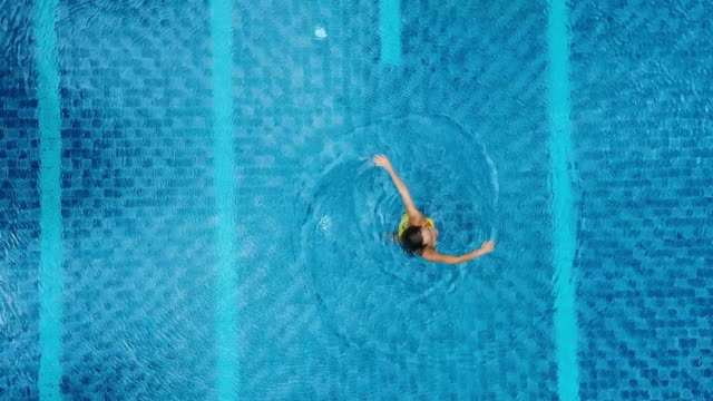 Aerial view of big swimming pool in private property video