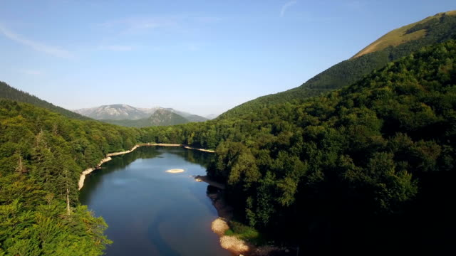 Aerial view of Biogradsko Lake, Biogradska Gora national park video