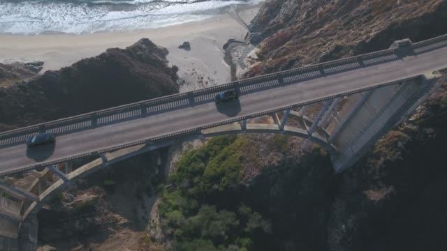 4K Aerial view of Bixby Creek Bridge in Big Sur California USA