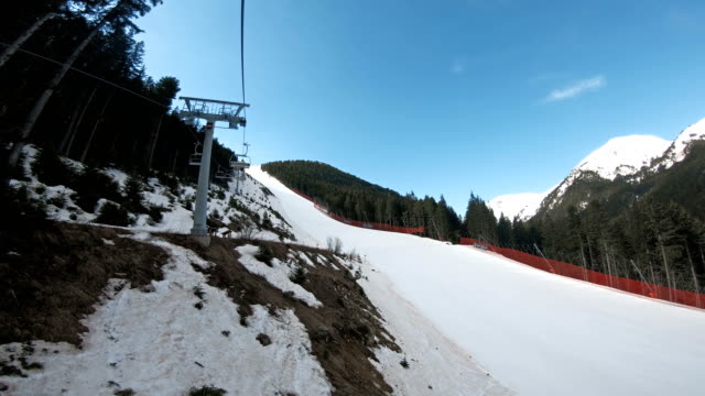 Aerial view of black Tomba slope in Bansko, Bulgaria. A world ski cup piste and the most dangerous one