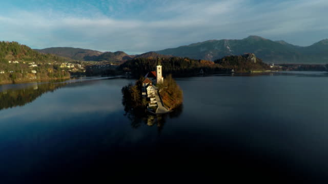 aerial view of bled island - ferragosto video stock e b–roll