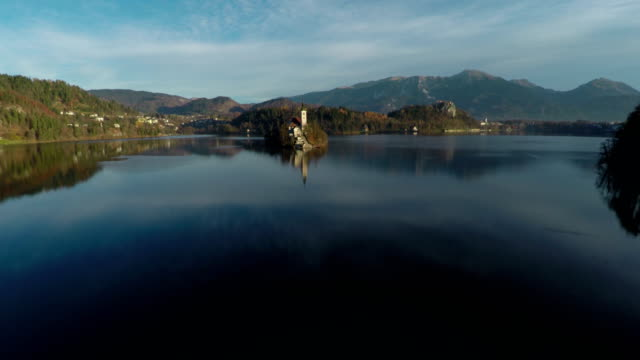aerial view of bled lake and island - ferragosto video stock e b–roll