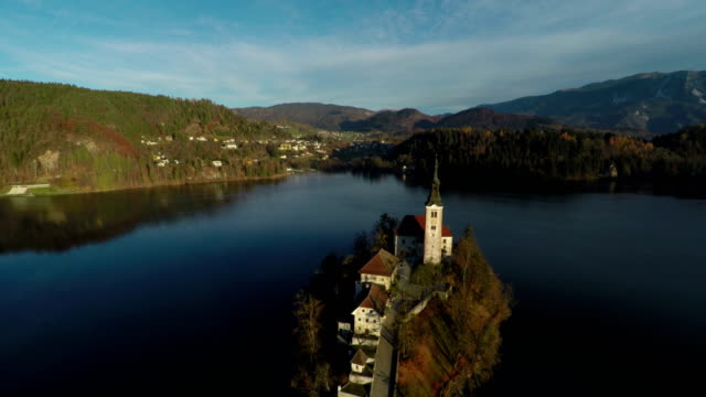 aerial view of bled lake - ferragosto video stock e b–roll