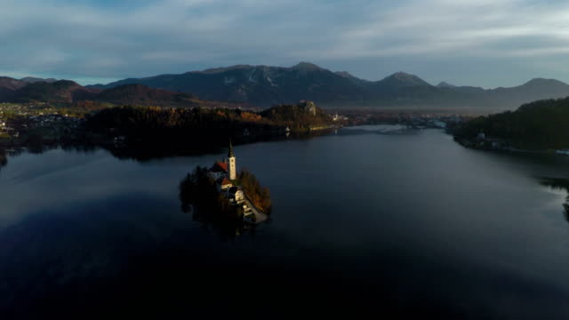 aerial view of bled - ferragosto video stock e b–roll