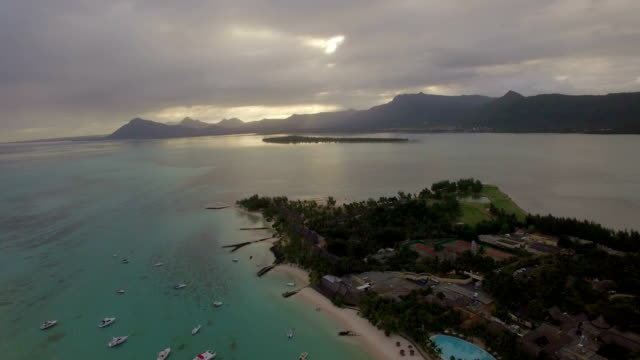 Aerial view of blue ocean and Mauritius Island video