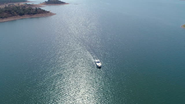Aerial View of Boat on Lake video