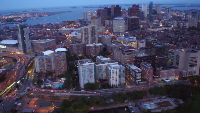 Aerial view of Boston  at dusk video