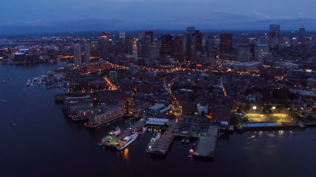 Aerial view of Boston  at night video