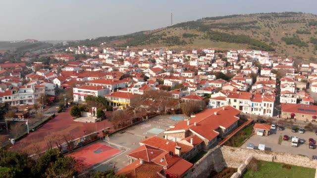 Aerial view of Bozcaada Bozcaada or Tenedos  is an island of Turkey in the northeastern part of the Aegean Sea, Çanakkale, Turkey çanakkale province stock videos & royalty-free footage