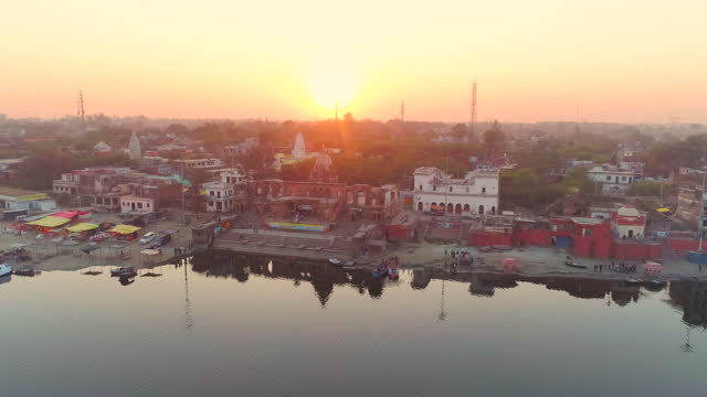 Aerial View of Brahmavart Ghat, Sunset Near River Ganga, Kanpur, Uttar Pradesh, India. Drone Shot