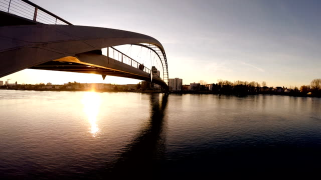aerial view of bridge at sunset. modern futuristic architecture - bridge 個影片檔及 b 捲影像