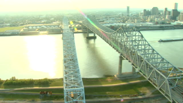 Aerial View of Bridge over Mississippi River in New Orleans video