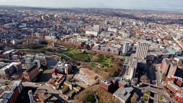 Aerial View of Bristol Cityscape 4K video