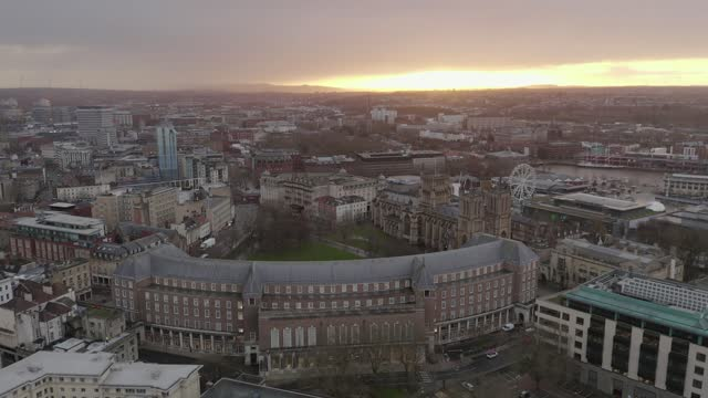 Aerial view of Bristol UK city centre approaching City Hall and Bristol Cathedral with Soith Bristol and the River Avon in the background Aerial view of Bristol UK city centre approaching City Hall and Bristol Cathedral with Soith Bristol and the River Avon in the background cathedrals stock videos & royalty-free footage