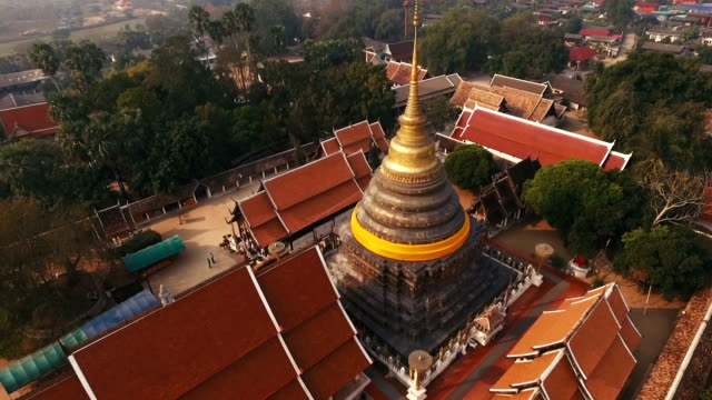 Aerial View of Buddhist Temple video