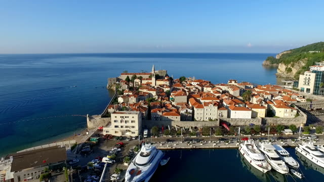 aerial view of budva. montenegro - port wine stock videos & royalty-free footage