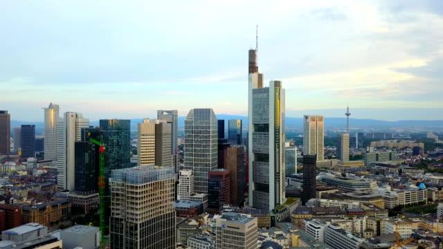 aerial view of business area in frankfurt city with skyscrapers - francoforte sul meno video stock e b–roll