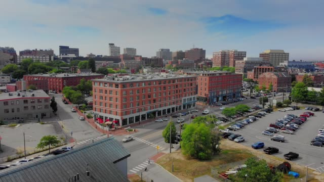 Aerial View of Business District of Portland Maine video