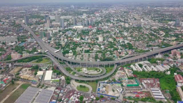 Aerial view of Busy freeway in Bangkok Thailand video