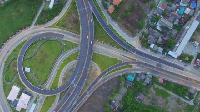 Aerial View of busy freeway intersection, Bangkok Thailand video