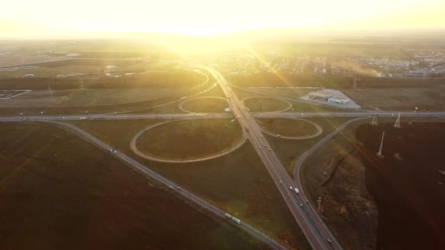 Aerial View Of busy highway crossroads near Odessa Ukraine video