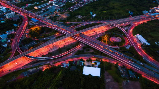 Aerial View of Busy Highway in Bangkok at Night,Hyperlapse Aerial View of Busy Highway in Bangkok at Night,Hyperlapse traffic time lapse stock videos & royalty-free footage