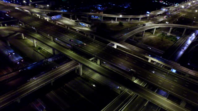 Aerial View of Busy Highway in Bangkok Thailand at Night video