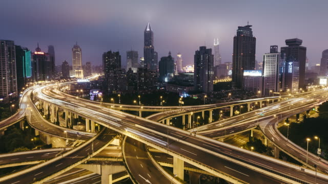 T/L WS HA TU Aerial View of Busy Overpass at Night / Shanghai, China video