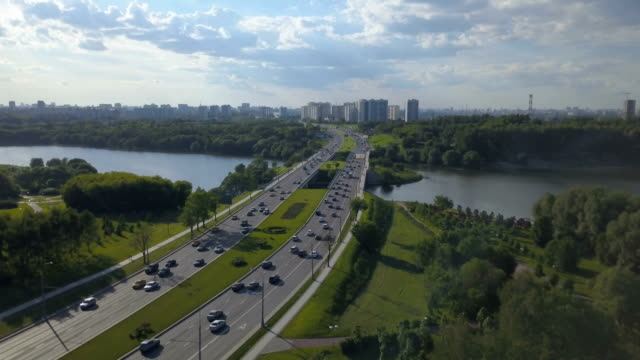 Aerial view of busy road and river video