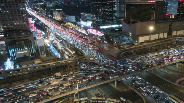 T/L MS HA TD Aerial View of Busy Road Intersection and Traffic Jam Time lapse / Beijing, China video